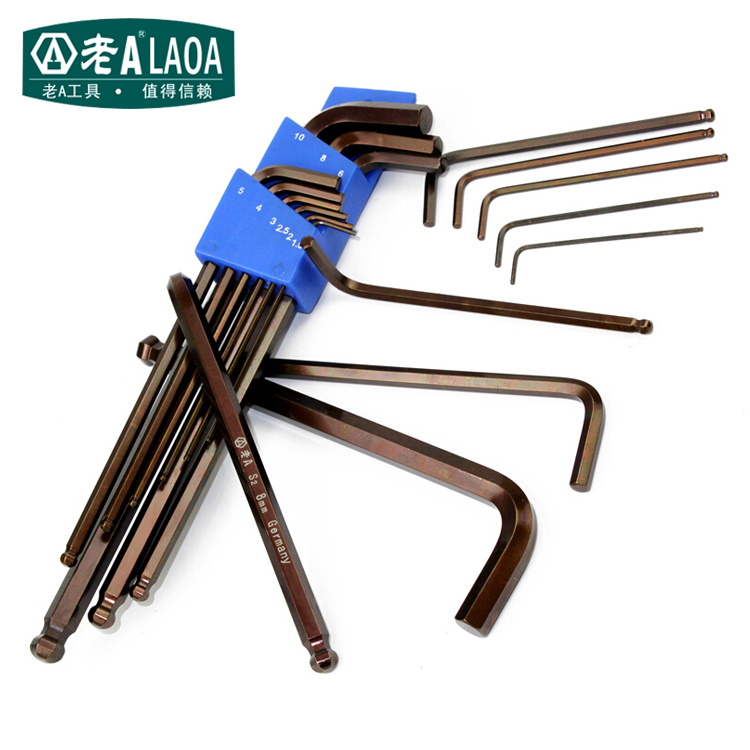 ФОТО LAOA Long Length 9 in 1 Hex Wrenches High Quality S2 Alloy Steel 235mm Strong Magnetic Wrench