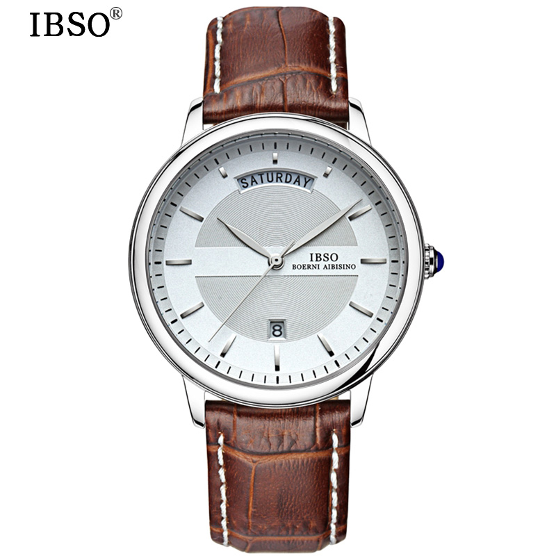 IBSO Mens Watches Top Brand Luxury 2018 Calendar Quartz Wristwatches Genuine Leather Strap Watch Men Fashion Relogio Masculino ibso brand luxury sapphire crystal mens watches high quality genuine leather strap men quartz watch waterproof relogio masculino