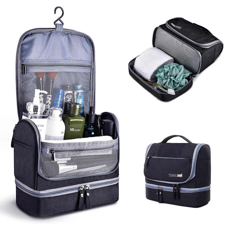 d4684143e217 Travel Toiletry Bag Men Hanging Organizer Kit with Hook and Handle  Waterproof Cosmetic Bag Dop Kit for Men or Women Make Up Case