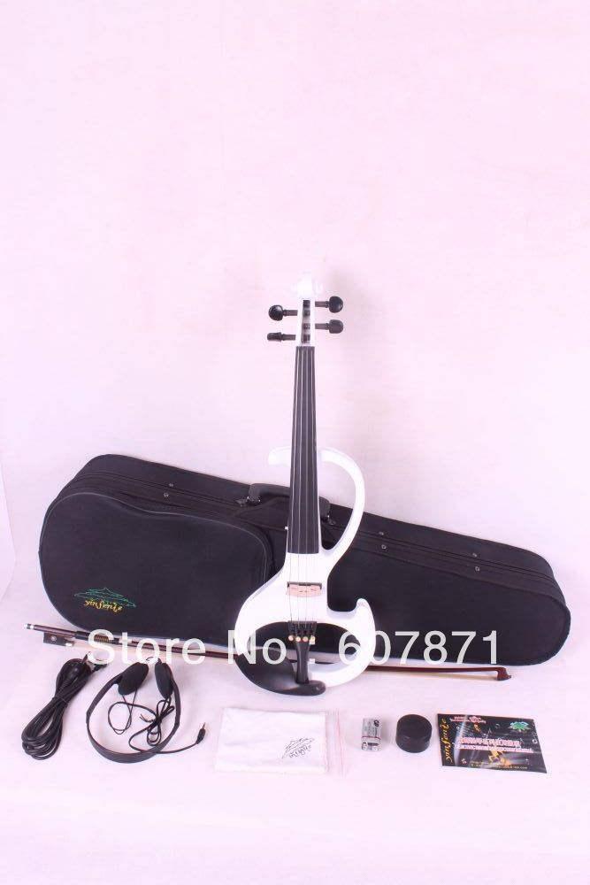New 4/4 Electric Violin Silent Pickup  white  Color tone #6- 8  4 strings 55 hanks white stallion violin bow hair 6 grams each hank in 32 inches