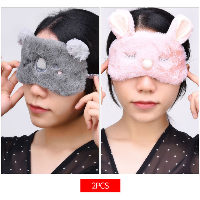 2Pcs Kawaii Animal Eye Mask Blindfold Plush Sleeping Eyeshade Office Breathable Eye Cover with Adjustable Strap Night Eyeshade 0
