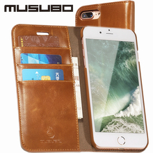 Musubo Luxury Flip Leather Case for apple iPhone 7 plus wallet phone bag Stand Cover For iphone 6 6Plus 6s Plus 5 5s 7Plus Cases