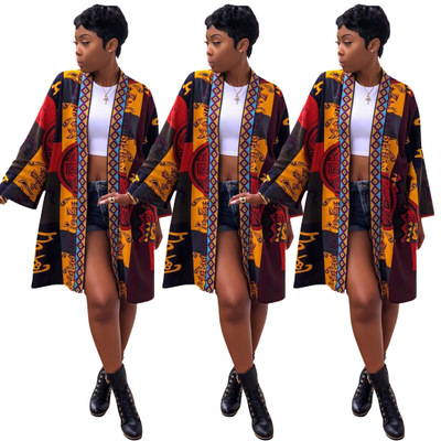2018 African Dashiki European And American Women's Totem Print Long-sleeved Sexy Windbreaker Jacket Suit For Lady