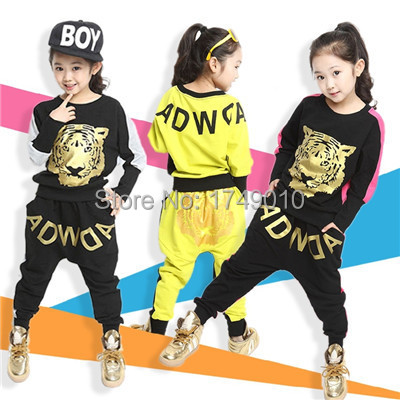 2016 Tiger Print Girls' Clothing Set Spring Autumn New Kids Sports Suit Long Sleeve Top & Harem Pants Sets  kx043 2017 new style spring autumn hoodie baby girl clothing set sequin lace long sleeve velour sports jacket long trousers outfits