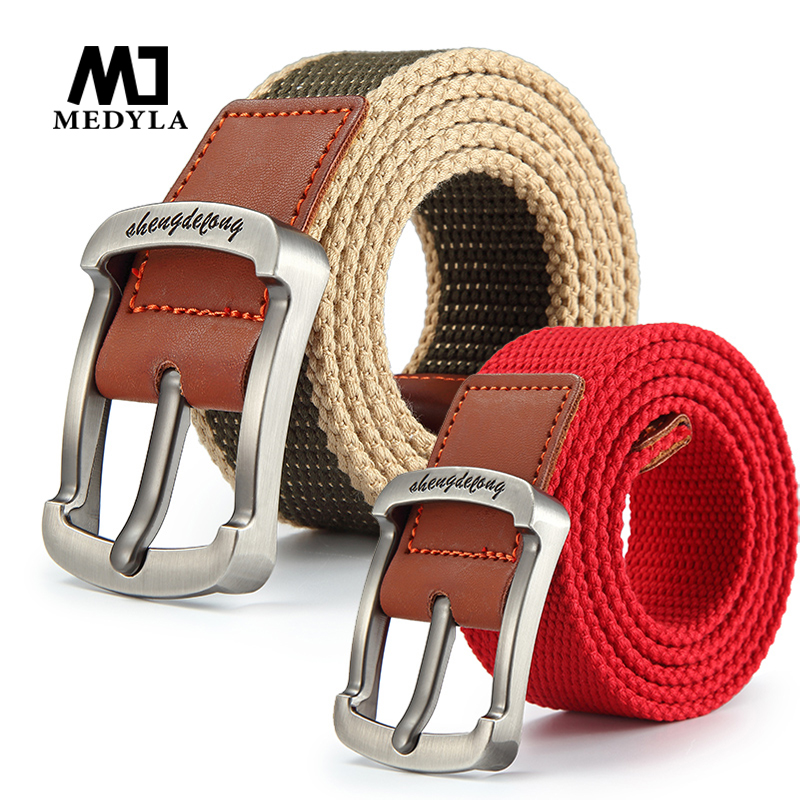 MEDYLA canvas   belt   man and women pin buckle strap casual jeans   belt   student youth waistband outdoor   belts
