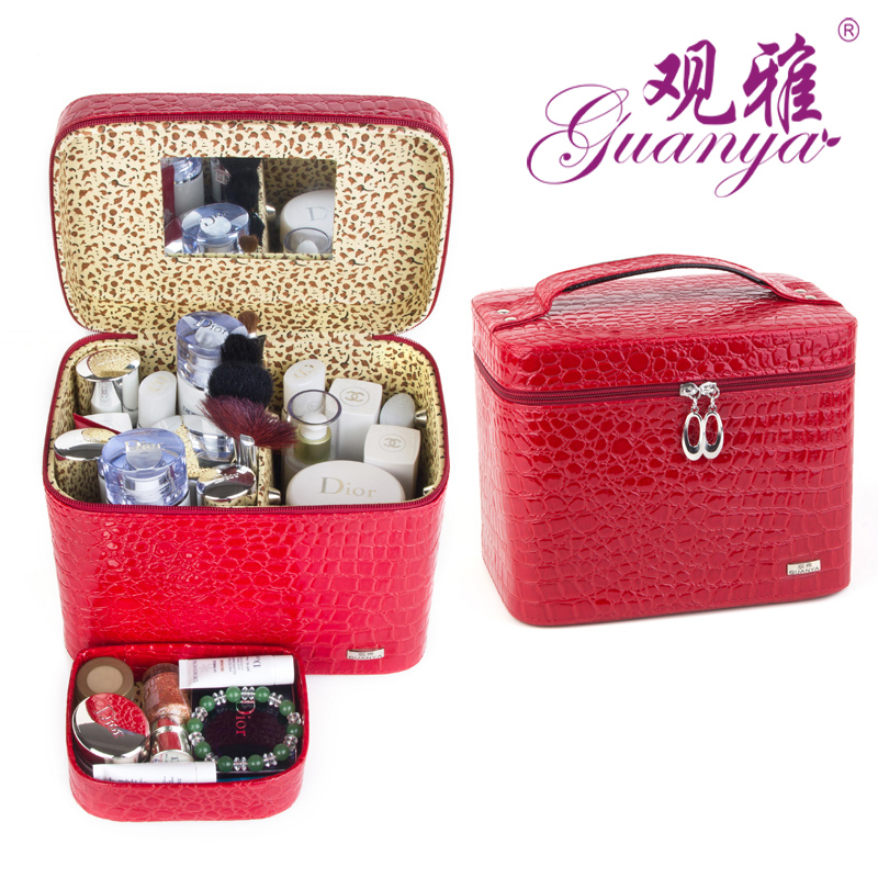 Hot Sale High Capacity Jewelry Box With Mirror Womens Gift Travel Makeup Organizer Portable Crocodile Pattern Storage Case