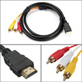 New NEW 5 Feet 1080P HDTV HDMI Male to 3 RCA Audio Video AV Cable Cord Adapter Wholesale