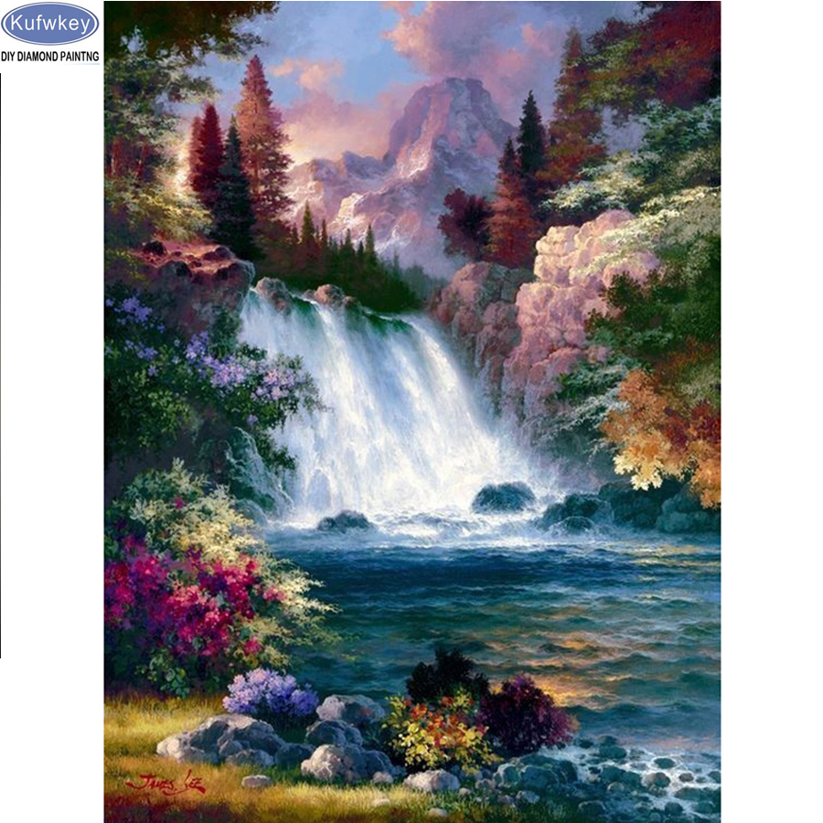 Needle Arts & Crafts Responsible Azqsd Diamond Embroidery Landscape Full Square Scenery Diamond Painting Cross Stitch Spring Bead Work Handmade Kids Gift Hobby