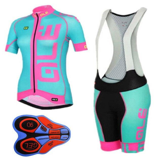 2018 Summer Ladies Short Sleeve Riding Knit ALE Shorts Cycling Apparel MTB Jersey Suit Cycling Kit 100% Breathable arsuxeo breathable sports cycling riding shorts riding pants underwear shorts