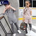 2016 in autumn and winter hot new boys and girls sweater suit children aged 4-11 cotton printing dot with cap hoodies two sets
