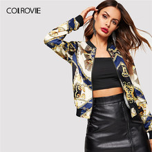 COLROVIE Trim Mixed Print Zipper Bomber Vintage Jacket Coat Women Clothing 2019 Spring Streetwear Fashion Casual Outerwear Coats(China)