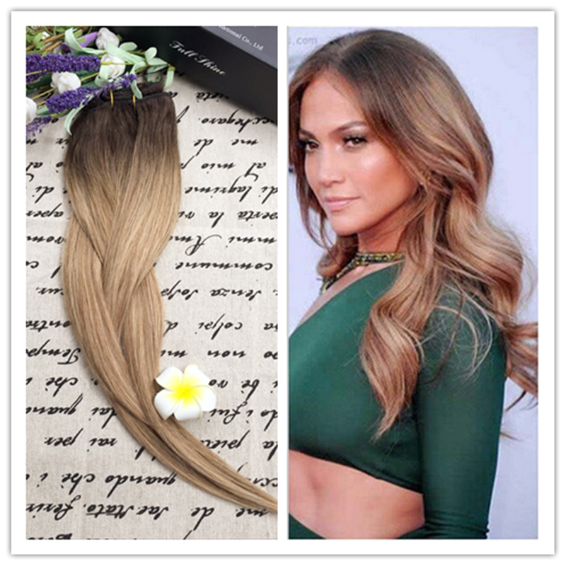 Full Shine 2016 New Fashion Balayage Ombre Hair Bundle Color 2 6 27 100 Human Hair