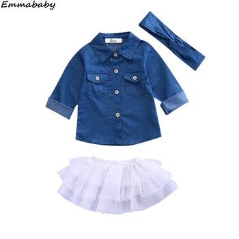 3 uds. Conjuntos de camisas de manga larga de mezclilla para niños y niñas, faldas blancas con tutú, vestidos para niños, conjuntos de ropa para niños