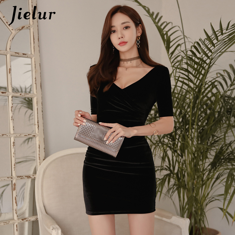 Jielur V-neck Sheath Mini Dress Women Gold Velvet Sexy Fashion Package Hip Dresses Spring Autumn Casual Korean Black Vestidos