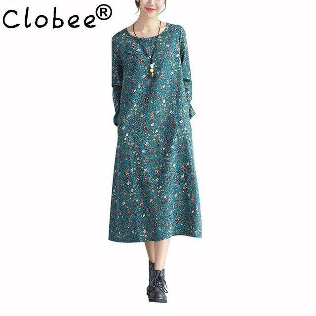 3404c330eb Clobee 2017 Spring Autumn Winter Long Sleeve Women Dress Plus Size Vintage  Floral Loose Cotton Linen