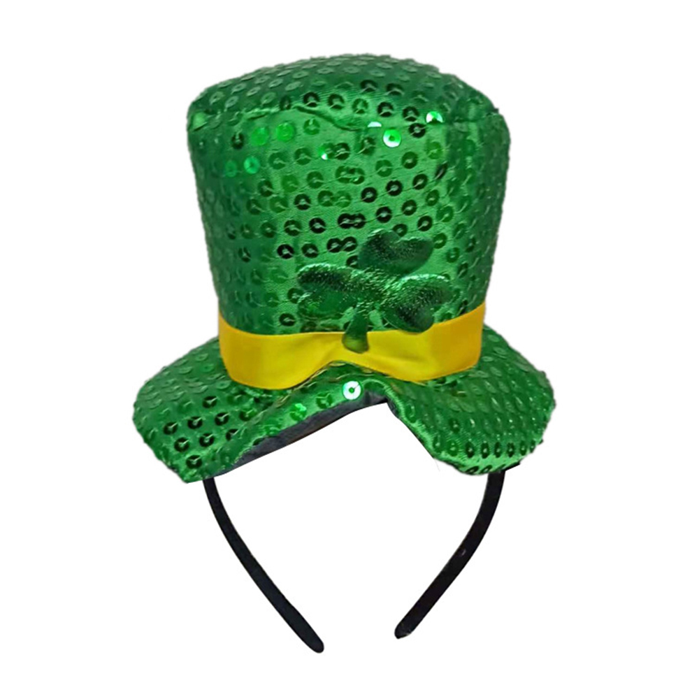 2019 Green Headband Green Leprechaun Top Sequin Shamrock Hat Hair  Accessories Props Dress Up Head Buckle St. Patricks Day Party-in Women s Hair  Accessories ... 5d97e805f2dc