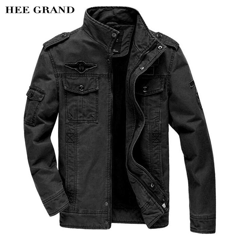 HEE GRAND Military Jackets For Men 2018 New Stand Collar Regular Length  Straight Casual Army Coats 15cbb3341d