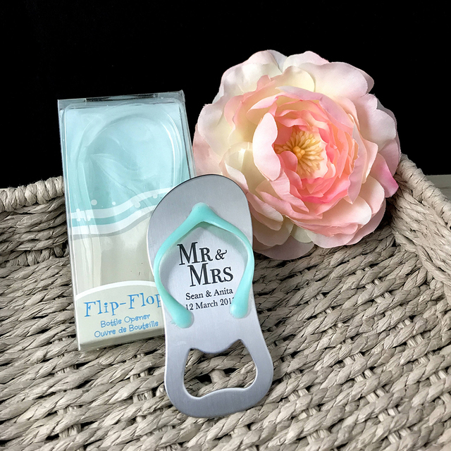 3734796429e24 10x Personalized Blue Flip Flop Bottle Opener with Box Beach Wedding Favor  Bridal Party Baby Shower Gift Birthday Favor Souvenir