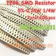 100pcs/lot 1206 5% 330 ohm 330R 331 1/4W 0.25W SMD Resistor 3.2*1.6mm(China (Mainland))
