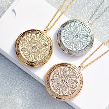 Zavorohin Can Put Photo Locket Pendant Necklace Openable Big Clock Round Shape Box Choker Photo Frame Necklace Jewelry For Women(China)