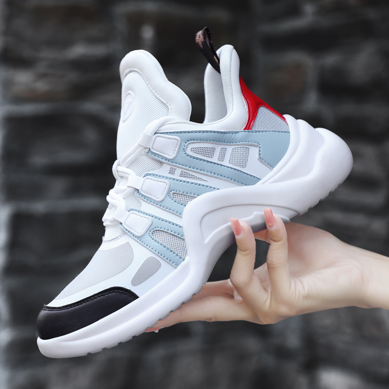 Brand 2019 Breathable Mesh Women Sneakers High Increasing Vulcanize Shoes Woman Running Shoes Nonslip Light Luxury Walking Shoes
