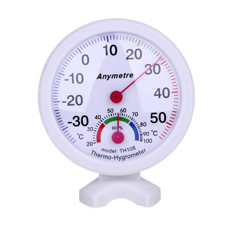 White Round Digital In-out Greenhouse Door Thermometer Hygrometer Temperature Humidity Meter Detector For Greenhouse