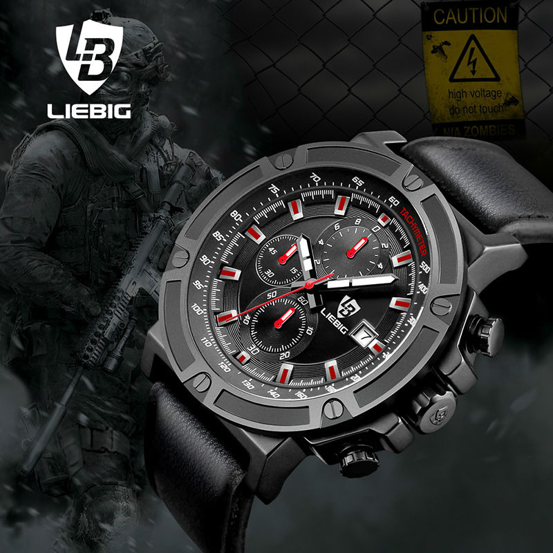 LIEBIG Men Quartz Watches 50M Waterproof Sports Wristwatches Military Leather Watch Fashion W Relogio Masculino ZHG161014