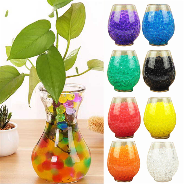 10Bags 1000pcs Multicolors Crystal Soil Plant Flower Jelly Mud Water Beads for Plants Pearls Vase Soil Gel Balls Home Decoration