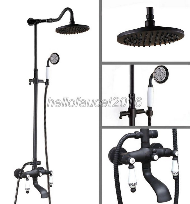 Dual Ceramic Handle Rainfall Shower Faucet Set Black Oil Rubbed Bronze Bath Tub Mixer Tap + Bathroom Rain Shower Head lhg626