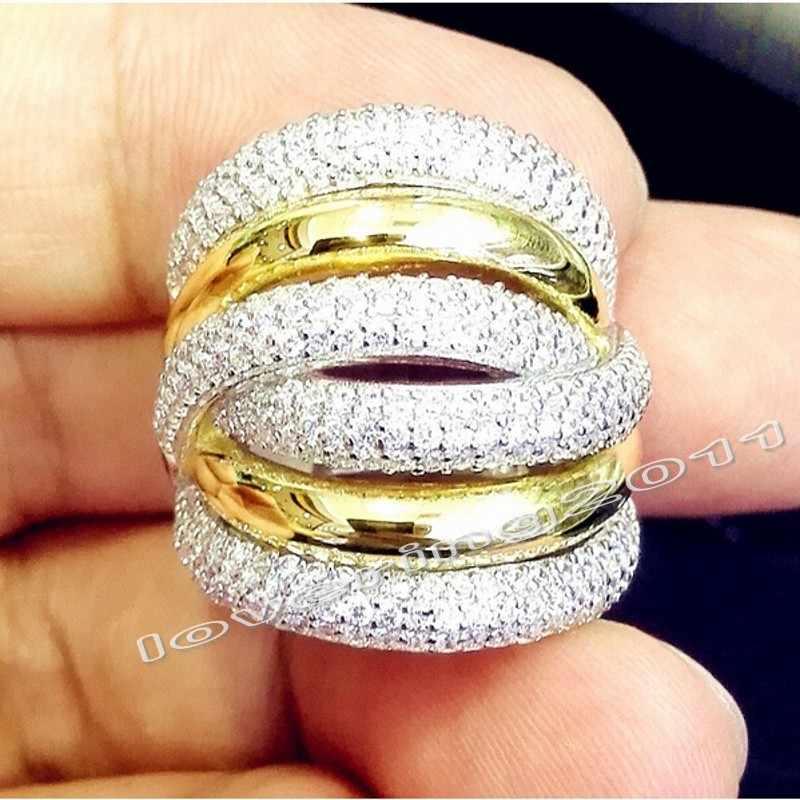 Choucong 永遠 236 個石 5A ジルコン石 14KT ホワイト & イエローゴールド充填女性婚約ウェディングバンドリング Sz 5-11