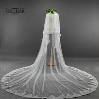 3.5 Meter White Ivory Cathedral Wedding Veils Long Edge Bridal Veil with Comb Wedding Accessories Bride Mantilla Wedding Veil