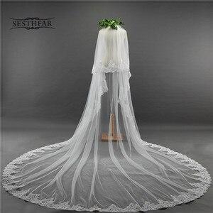Image 1 - כלה צעיף ארוך 3.5M שתי שכבה תחרה קצה רעלה עם מסרק עבור הטולה Mariage חתונה אביזרים