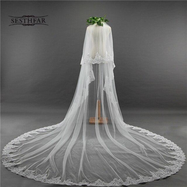 כלה צעיף ארוך 3.5M שתי שכבה תחרה קצה רעלה עם מסרק עבור הטולה Mariage חתונה אביזרים