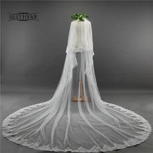 Velo largo para novia, velo de dos capas con borde de encaje de 3,5 M, velo de boda con peine para boda, accesorios para Tule Mariage