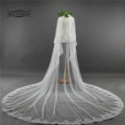 Voile de mariée longue 3.5M deux couches dentelle bord voile de Mariage avec peigne pour Tule Mariage accessoires de Mariage