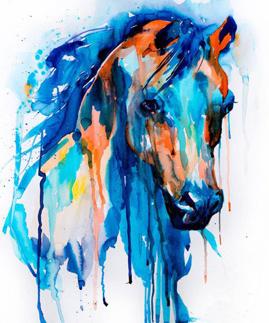 92025e268e7 Artist Hand-painted Modern Artwork Bright Color Horse Head Oil Painting On  Canvas For Wall Decoration Abstract Horse Painting