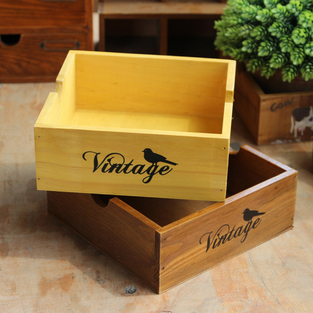 New Classic Bird Design Vintage Wood Storage Box Wooden Makeup Organizer  Sundries Bonsai Rangement Boxes Retro