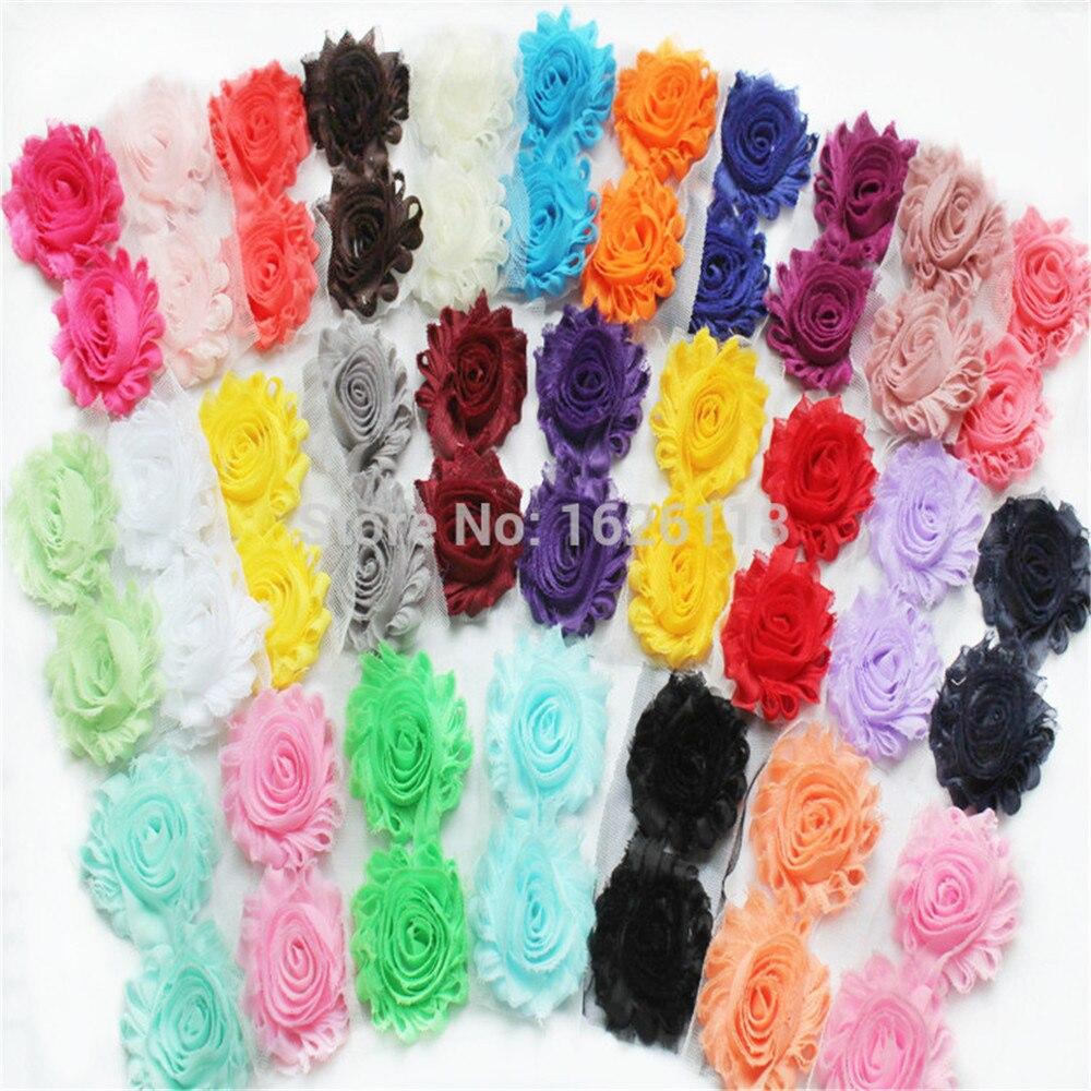 2,5 ''однотонные потертый цветок, изнашиваемый шифон матерчатые цветы для волос отделка с розочками 168 шт/12yds/лот
