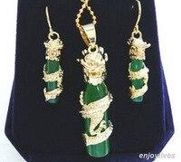 Les nereides edelstein Grünen EDELSTEIN Gelb Drachen Anhänger Ohrringe & Halskette Set Quarz Feine Braut breite königin