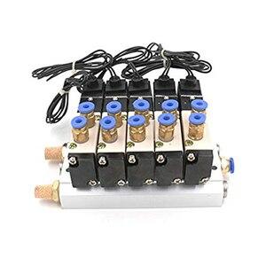Image 3 - DC 12 V 24 V 5 Pneumatische Magneetventiel 4V110 06 Uitlaat 4mm 6mm 8mm 10mm 12mm Quick Fitting Base Set AC 110 v 220 v 4V110 06