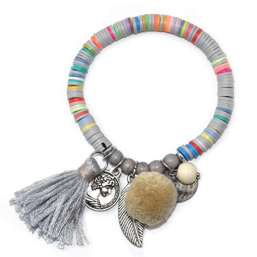 Fashion Boho Coloré Coton pampilles perles Ethnique Collier Pendentif Femmes Bijoux