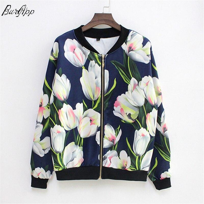 New Women Coat Fashion Ladies Retro Floral Zipper Bomber   Jacket   Casual Coat Autumn Outwear Women Clothes 2018   Basic     Jacket