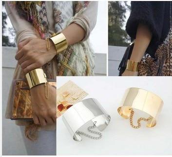 Fashion Jewelry Mirror Punk Rock Wide Flat Gold Tone Or Silver Bangle Cuff Bracelet Women