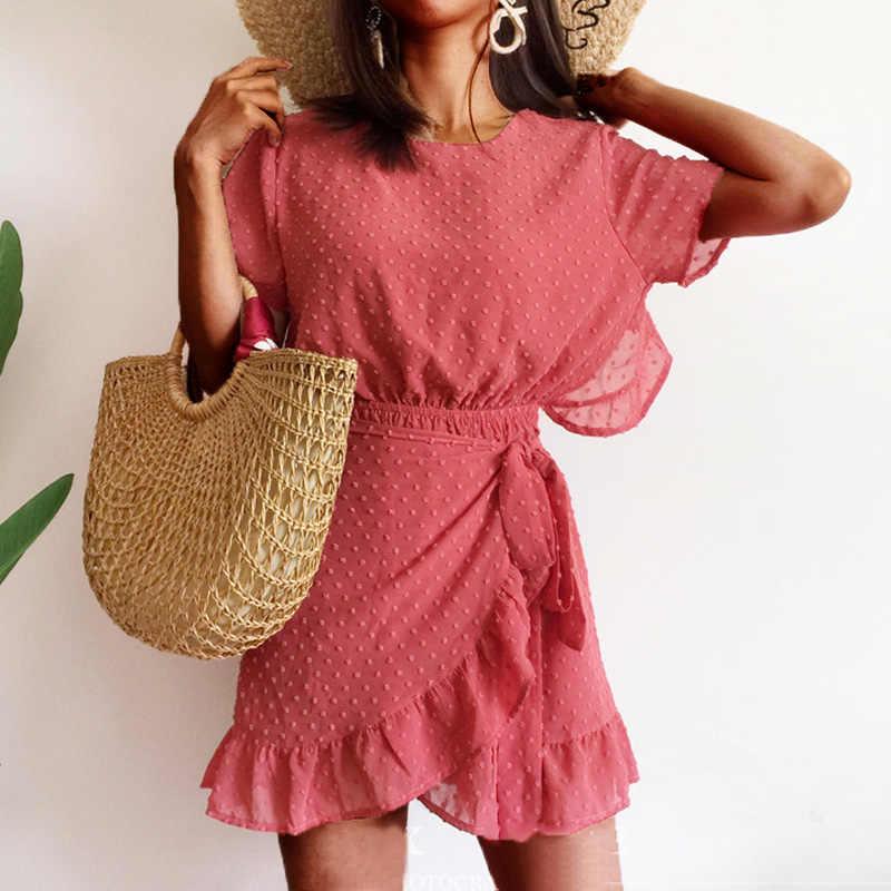 Yojoceli 2018 Лето спинки платье с рюшами женщины boho пляжные шорты шифоновое платье уличная Асимметричный женский vestidos платье