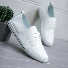 2018 Spring Summer New Leather Women Shoe Casual Leather Shoes For Women Flat Shoes White Ladies Lacing Loafers Zapatos Mujer