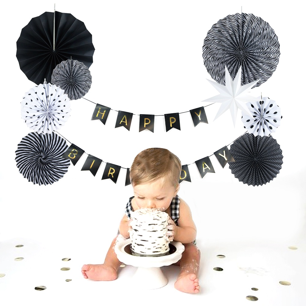 9pcs (Black White) Paper Decoration Set Paper Fans...