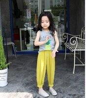 طفلة السراويل السببية لون الحلوى الحريم السراويل للفتيات منع البعوض واسعة الساق السراويل فتاة الملابس 2017 الصيف