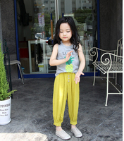 Baby Girl Pants Causal Candy Color Harem Pants for girls Prevent Mosquito Wide Leg trousers teenage girl clothing 2017 Summer