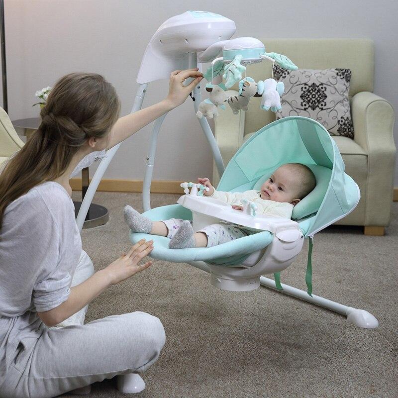Bébé berceau électrique chaise berçante lit balançoire nouveau-né bébé intelligent balançoire sommeil gauche et droite balançoire chaise - 2