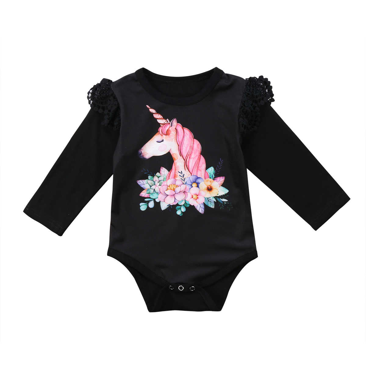 b70df254fd0 Unicorn baby girls clothes Infant Baby Girls Long Sleeve Unicorn Romper  Jumpsuit babies body suits 2